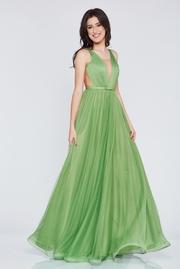 rochie lunga verde-inchis de lux din tul captusita pe interior cu decolteu in v