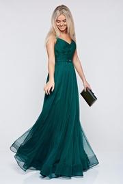 rochie lunga verde inchis de lux tip corset din tul captusita pe interior