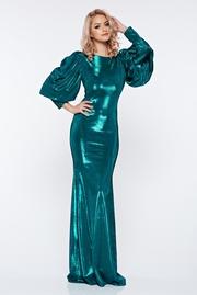 rochie lunga verde-inchis de seara tip sirena cu maneci bufante