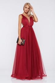 rochie lunga visinie de lux din tul captusita pe interior cu decolteu in v