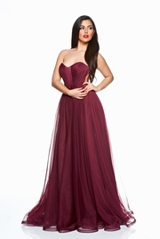 rochie lunga visinie de lux din tul cu bust buretat
