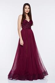rochie lunga visinie de lux tip corset din tul captusita pe interior cu pietre strass