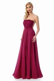 rochie lunga visinie de lux tip corset din tul captusita pe interior cu umeri goi