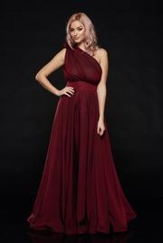rochie lunga visinie de ocazie din voal pe umar