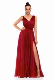 rochie lunga visinie de ocazie in clos cu tul