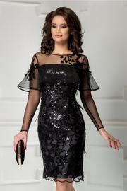 rochie neagra de seara din paiete cu pene
