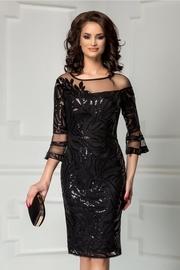 rochie neagra de seara din paiete si broderie