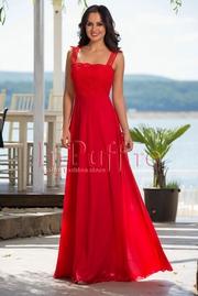 rochie rosie lunga de seara din voal si dantela