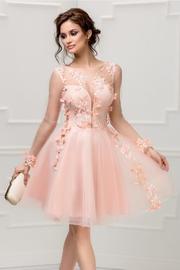 rochie roz de ocazie cu broderie 3D