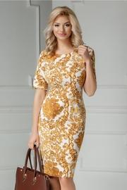 rochie scurta alba cu imprimeu auriu