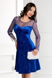 rochie scurta albastra din catifea