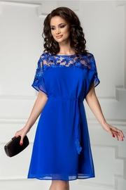 rochie scurta albastra din voal cu broderie
