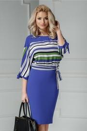 rochie scurta albastra office cu dungi