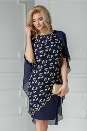 rochie scurta bleumarin cu broderie aurie si voal