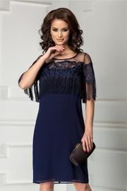 rochie scurta bleumarin cu broderie si franjuri
