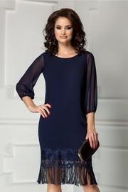 rochie scurta bleumarin cu franjuri la tiv