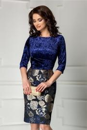 rochie scurta bleumarin cu imprimeu floral bej