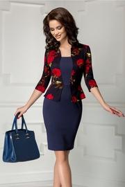 rochie scurta bleumarin cu imprimeu floral rosu
