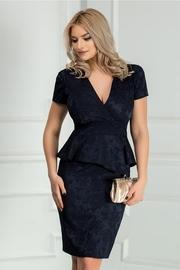 rochie scurta bleumarin cu peplum