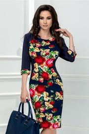 rochie scurta bleumarin cu trandafir rosu galben