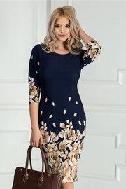 rochie scurta bleumarin cu trandafiri maro