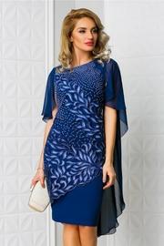 rochie scurta bleumarin de ocazie cu broderie albastra
