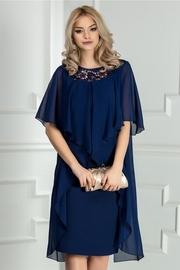 rochie scurta bleumarin de ocazie cu broderie si voal