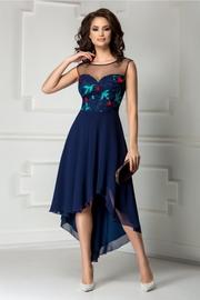 rochie scurta bleumarin de seara cu trena
