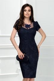 rochie scurta bleumarin din brocard cu broderie