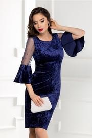 rochie scurta bleumarin din catifea cu perle