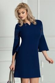 rochie scurta bleumarin evazata de ocazie