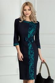 rochie scurta bleumarin midi office cu imprimeu verde