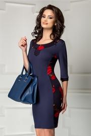 rochie scurta bleumarin si imprimeu floral rosu