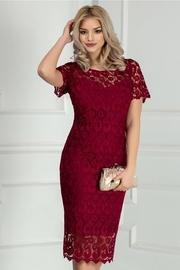 rochie scurta bordo din dantela eleganta