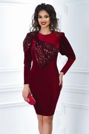 rochie scurta din catifea grena cu funda din paiete