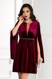 rochie scurta din catifea grena cu maneci despicate