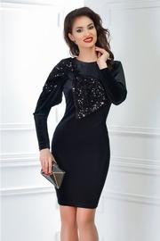 rochie scurta din catifea neagra cu funda din paiete