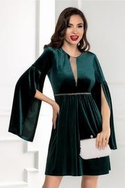 rochie scurta din catifea verde cu maneci despicate
