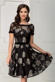 rochie scurta din dantela cu flori bej