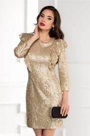 rochie scurta din paiete aurii si decolteu cu funda la spate