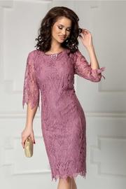 rochie scurta lila din dantela de seara