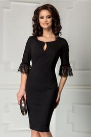 rochie scurta neagra cu buline si dantela