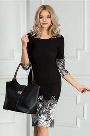 rochie scurta neagra cu imprimeu alb