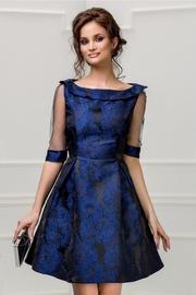 rochie scurta neagra cu imprimeu albastru