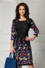 rochie scurta neagra cu imprimeu floral colorat