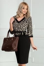 rochie scurta neagra cu imprimeu leopard