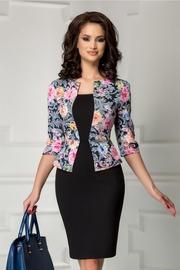 rochie scurta neagra cu imprimeuri florale pastelate