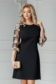 rochie scurta neagra de cocktail cu broderie