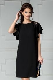 rochie scurta neagra de ocazie cu dantela maneci