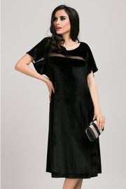 rochie scurta neagra din catifea croi larg
